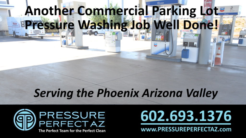 Clean parking lot after pressure washing in Phoenix Arizona